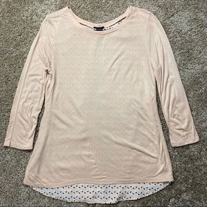 Ann Taylor Blush Double Layer Split Back Top M